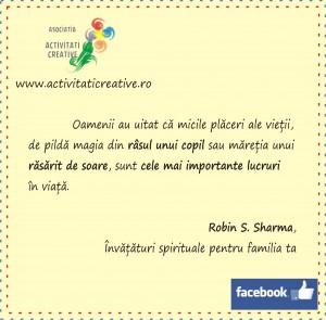 banner robin sharma, activitaticreative.ro