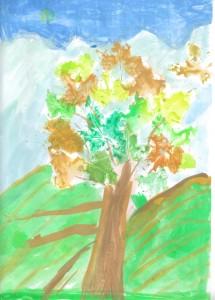 copac cu frunze
